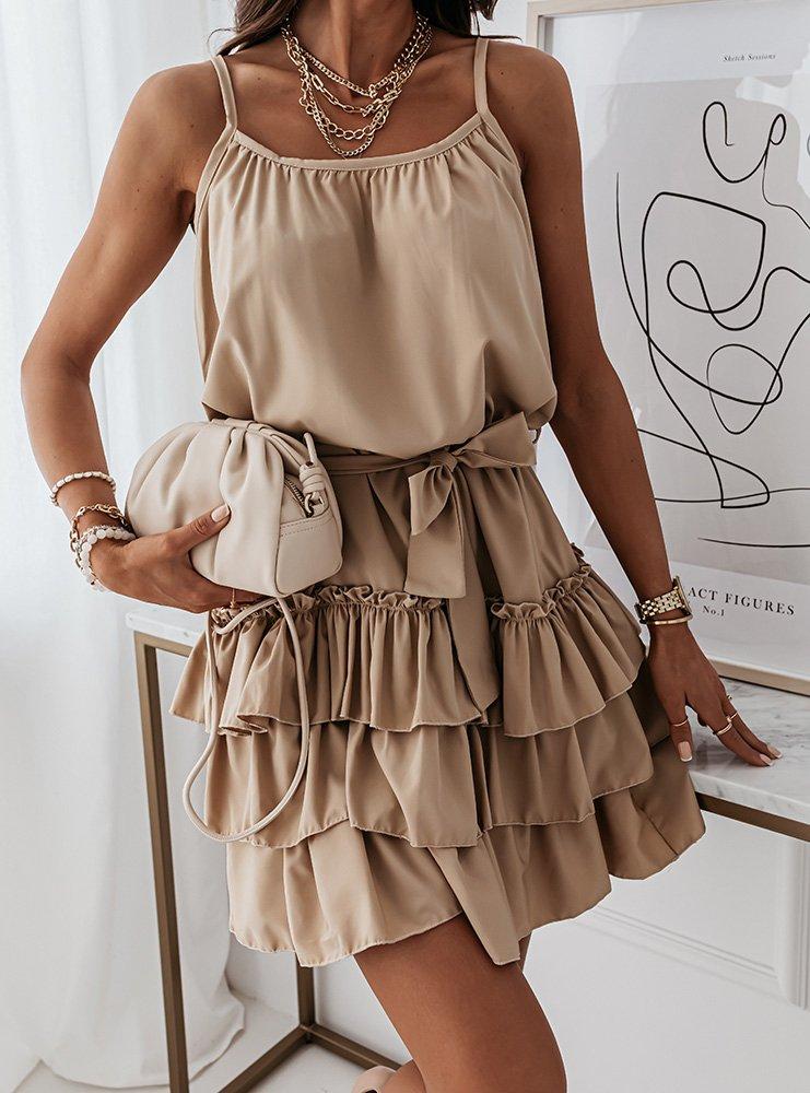 Beżowa sukienka na ramiączkach z...