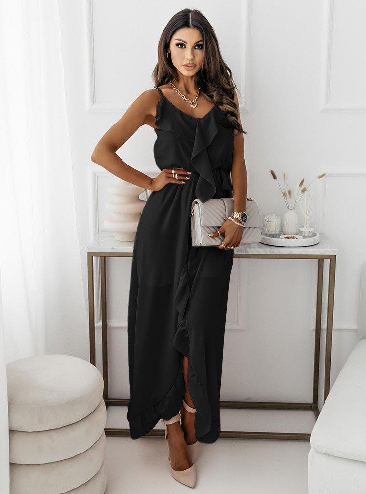 Czarna asymetryczna sukienka na...
