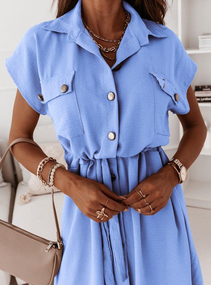 Błękitna sukienka z guzikami Kassie