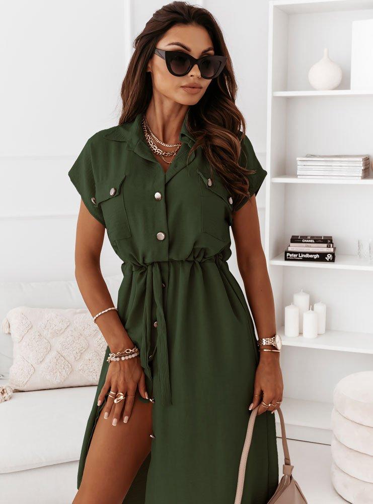 Sukienka z guzikami Kassie - khaki