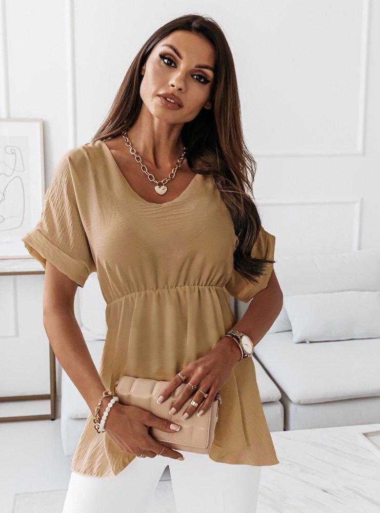 Beżowa bluzka z wiązaniem w talii Kitsa