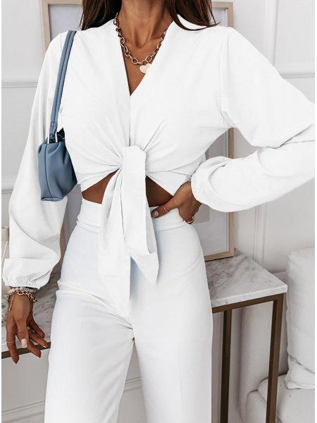 Biała bluzka z wiązaniem Zinko