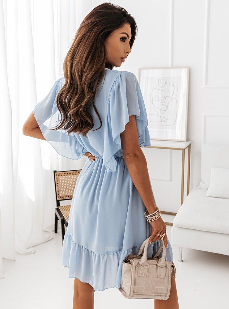 Błękitna przekładana sukienka z...