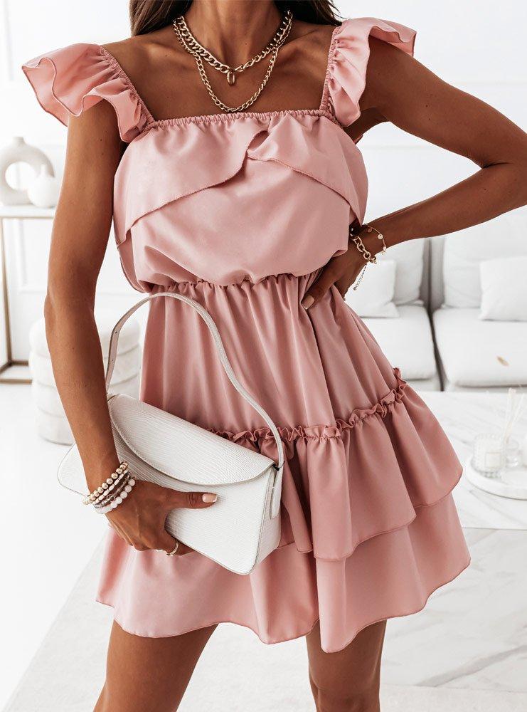 Sukienka z falbankami Anneta - brudny róż