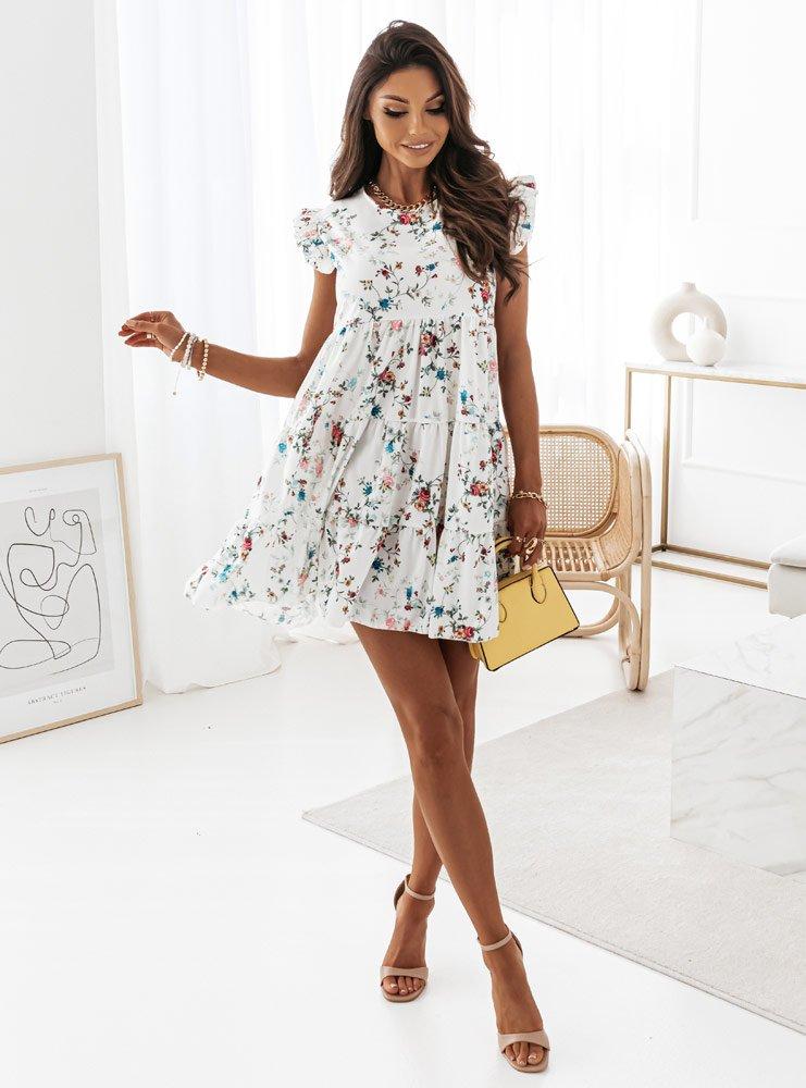 Sukienka wzorzysta z falbankami przy...