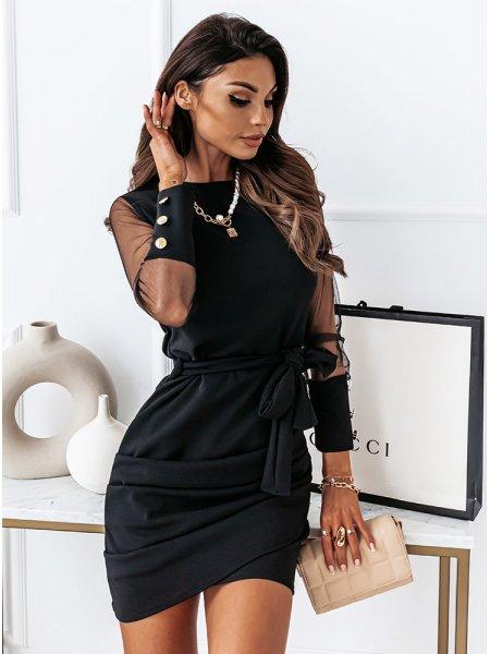 Czarna sukienka z tiulem i...