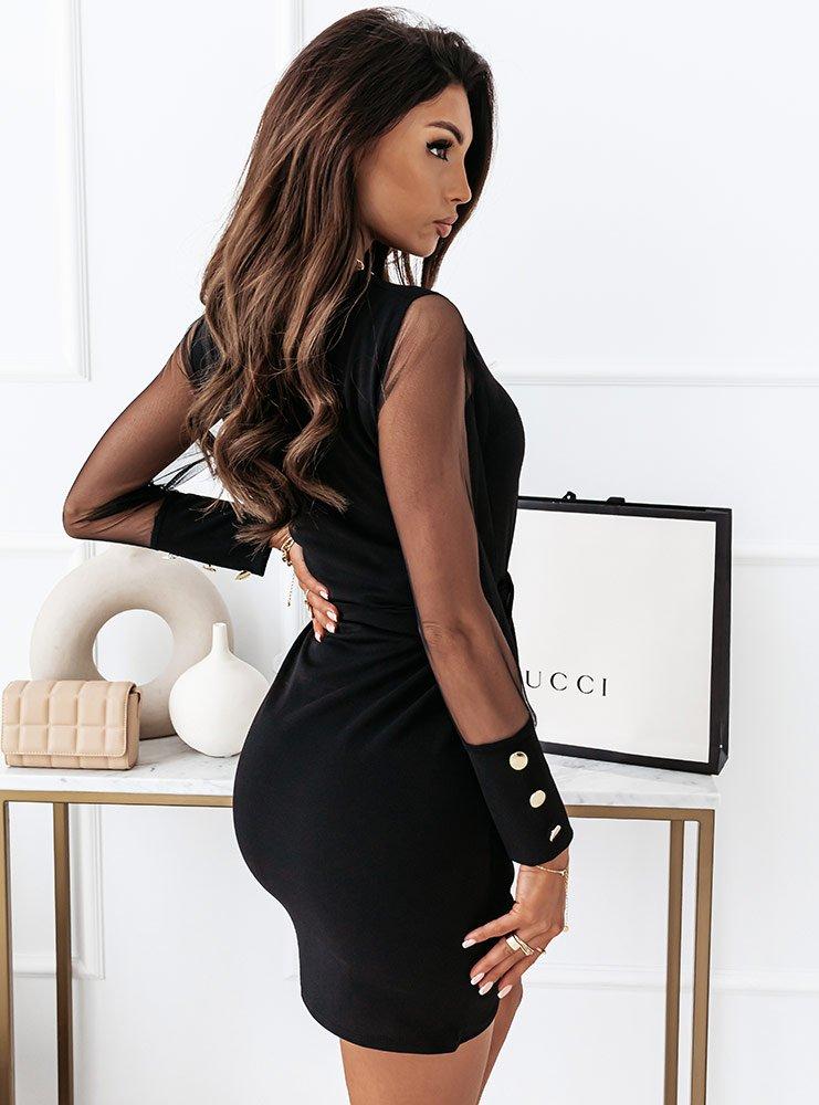 Czarna sukienka z tiulem i guzikami...