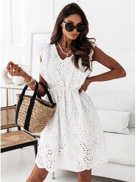 Biała ażurkowa sukienka z...