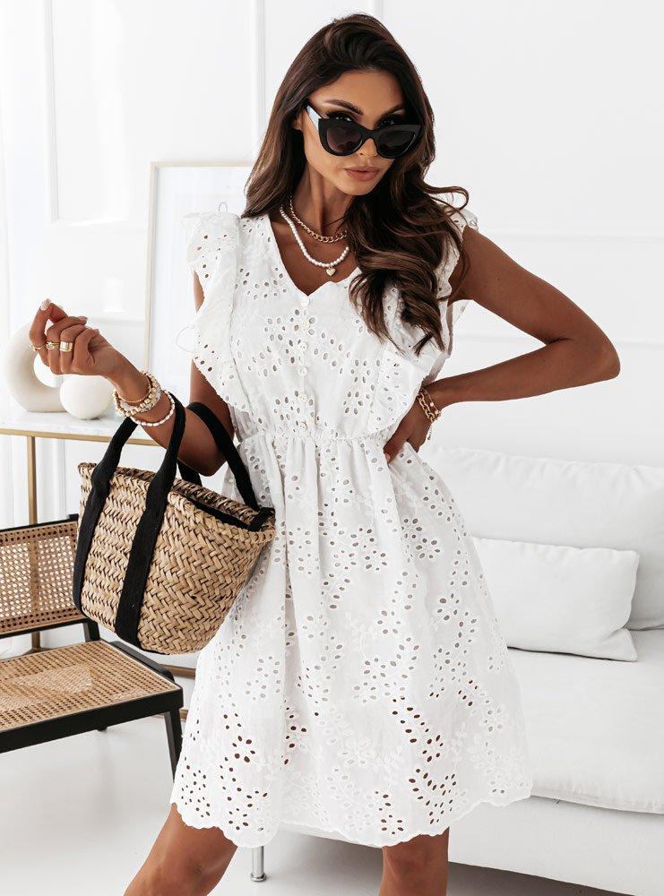 Biała ażurkowa sukienka z guziczkami Sylwi