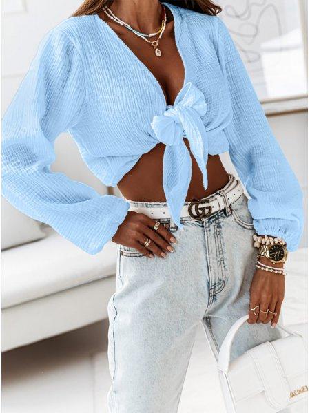 Błękitna muślinowa bluzka...
