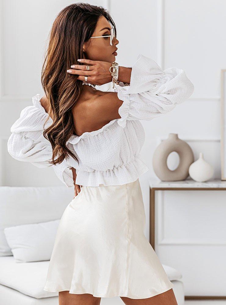 Biała muślinowa bluzka hiszpanka Ingiia