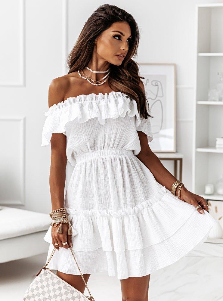 Biała muślinowa sukienka hiszpanka Candi