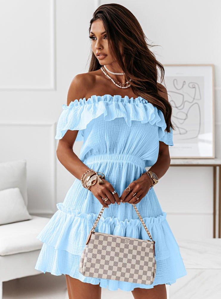 Błękitna muślinowa sukienka hiszpanka...