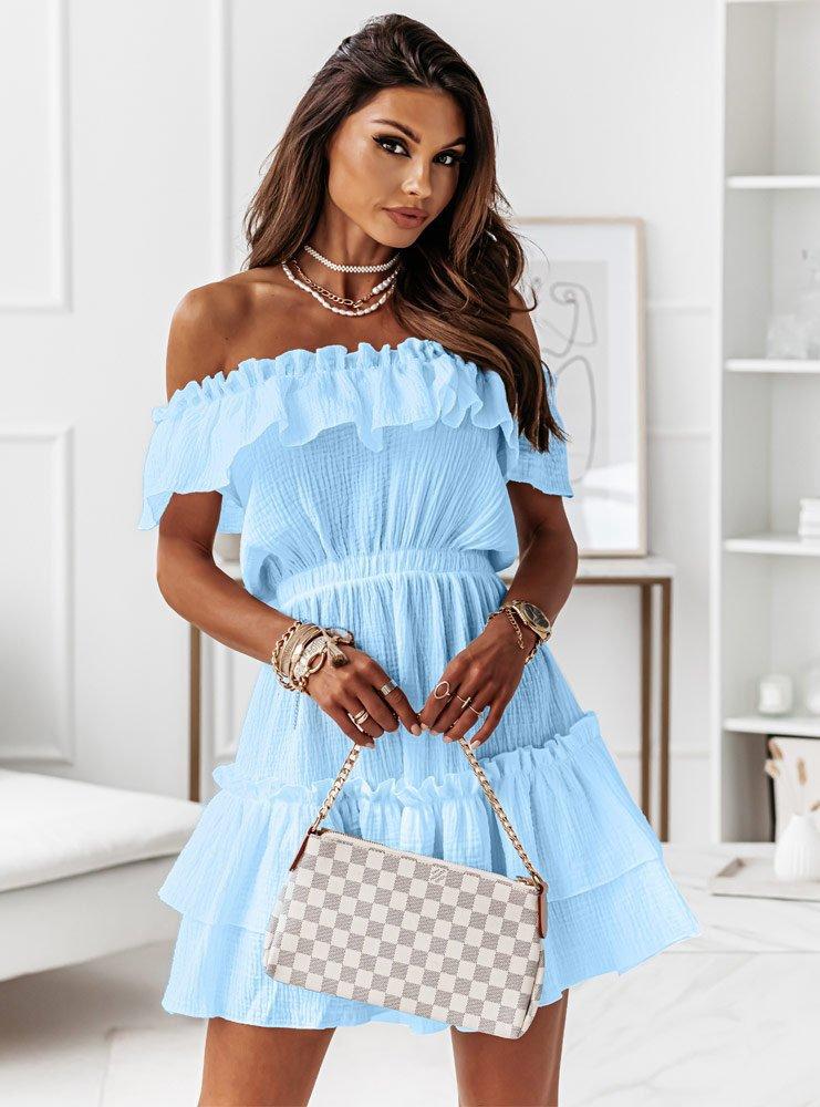 Błękitna muślinowa sukienka hiszpanka Candi