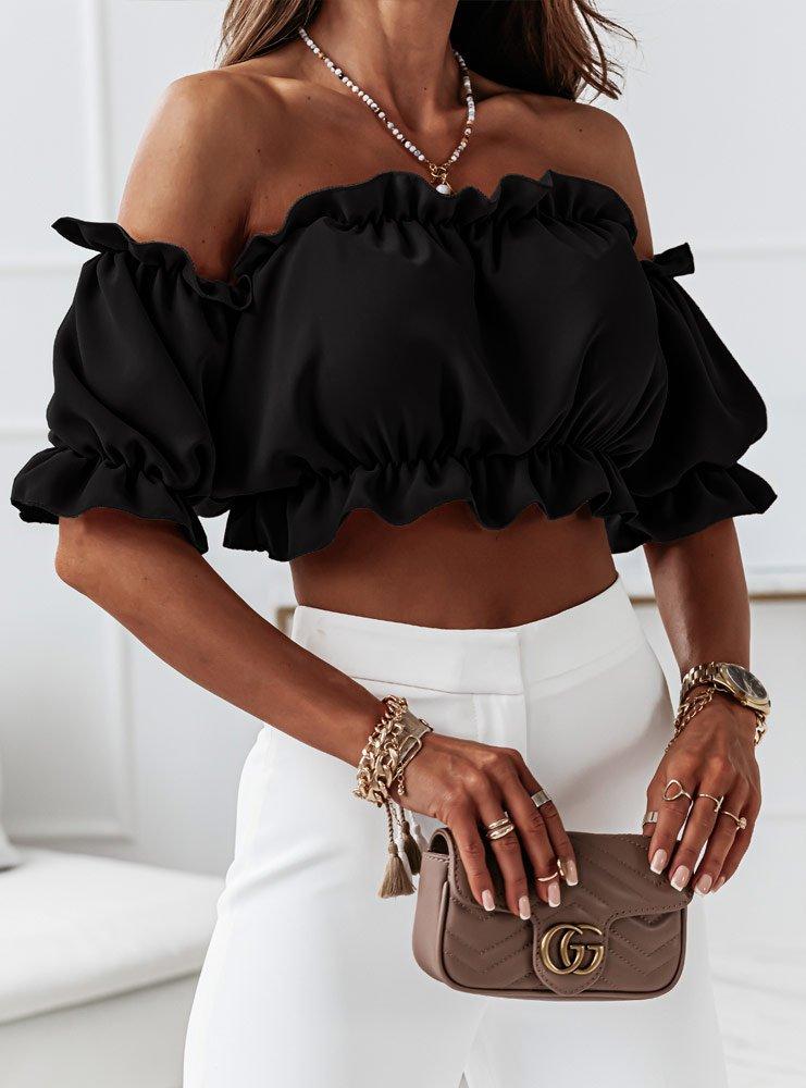 Czarna bluzka hiszpanka z krótkim...