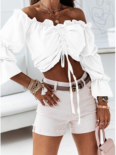 Biała bluzka hiszpanka ze...