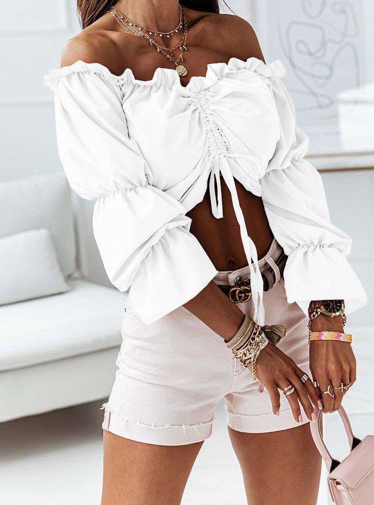 Biała bluzka hiszpanka ze ściągaczem...