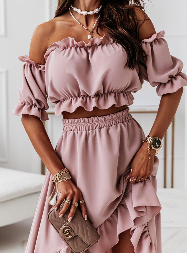 Komplet bluzka hiszpanka i spódnica Flamenica - brudny róż
