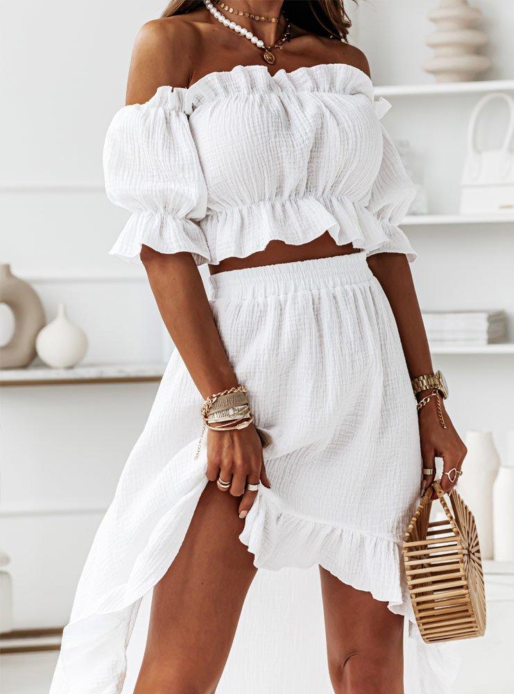 Biały muślinowy komplet bluzka i spódnica Jovana