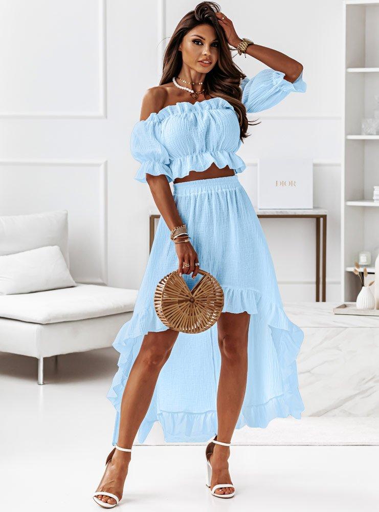 Błękitny muślinowy komplet bluzka i spódnica Jovana