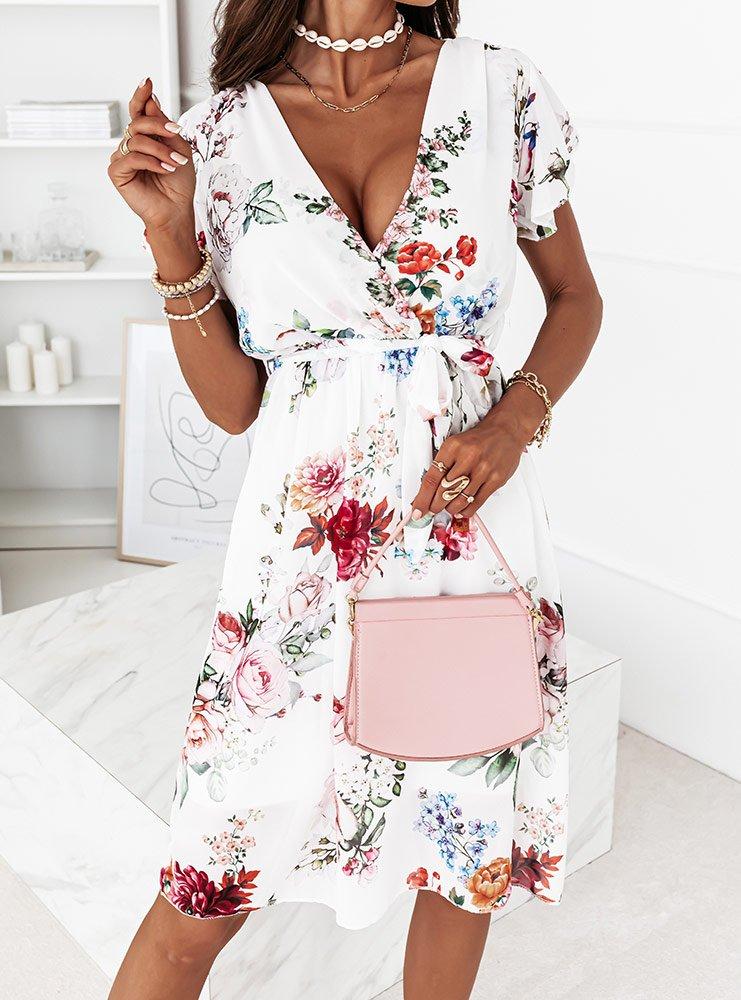 Wzorzysta sukienka w kwiaty Kalinna -...