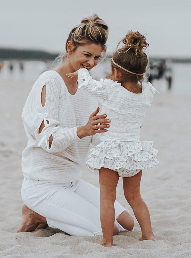 Zestaw sweterek mama córka z kokardkami Esiina - ecru