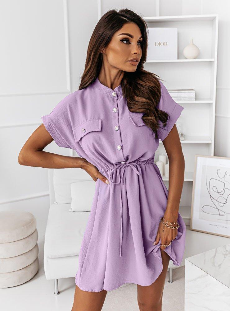Liliowa sukienka z guziczkami i...