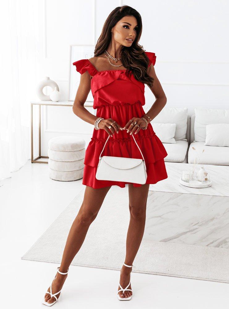 Malinowa sukienka z falbankami Anneta