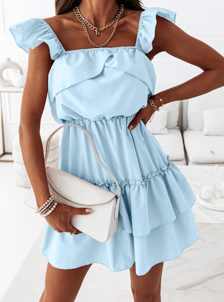 Błękitna sukienka z falbankami Anneta