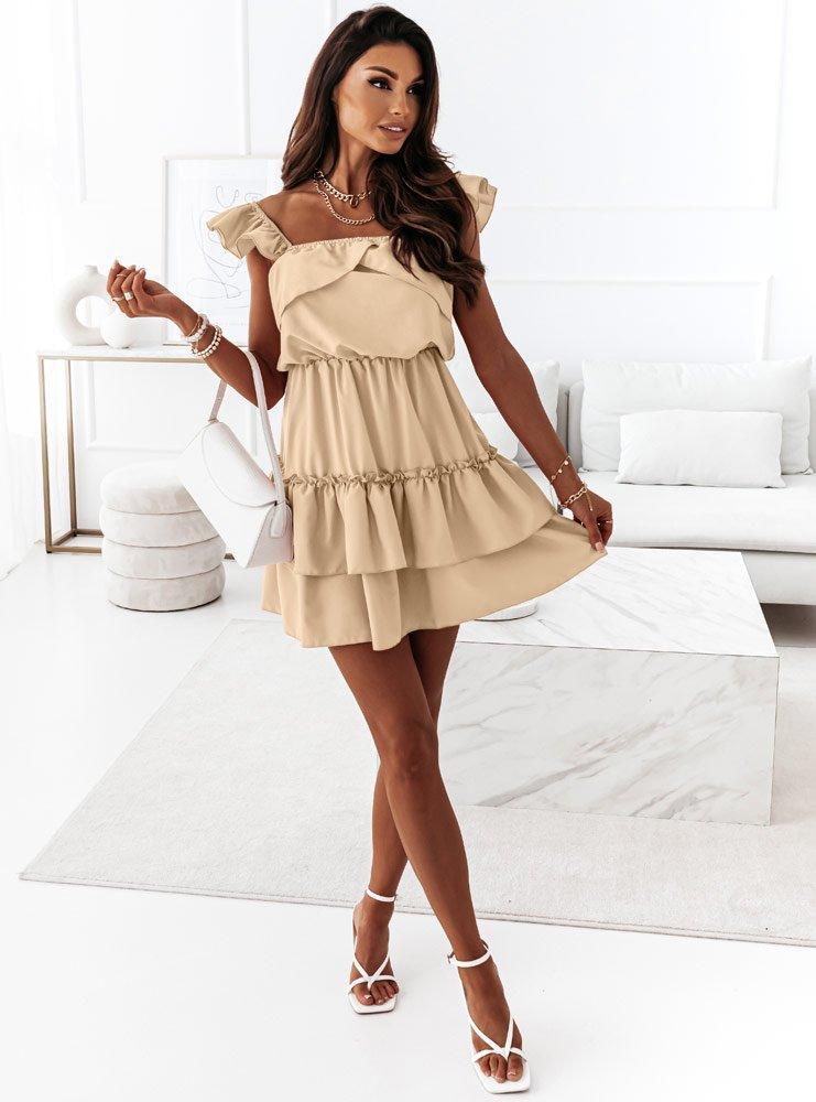Beżowa sukienka z falbankami Anneta