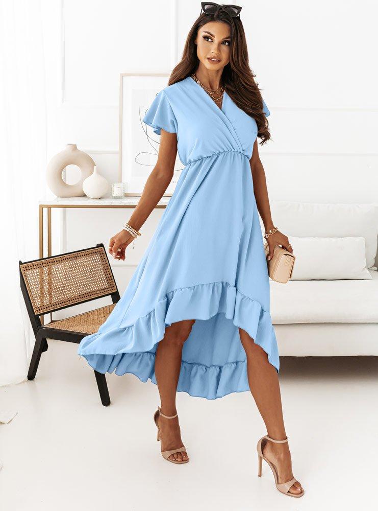 Błękitna maxi asymetryczna sukienka...