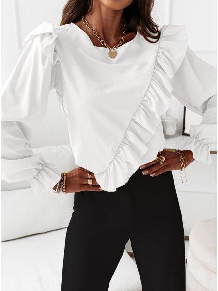 Biała bluzka na długi rękaw...
