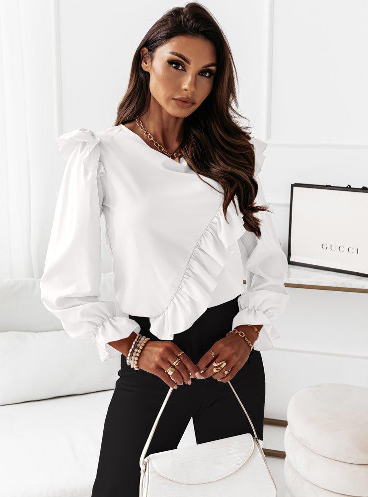 Biała bluzka na długi rękaw z...