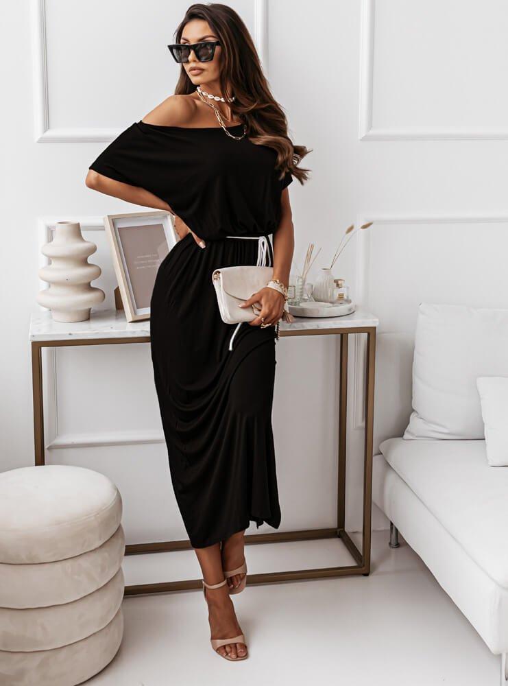 Czarna sukienka z rozcięciem Uliiz
