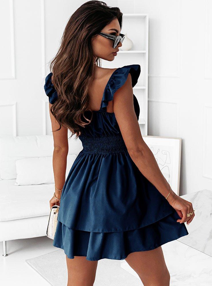 Granatowa sukienka hiszpanka z...