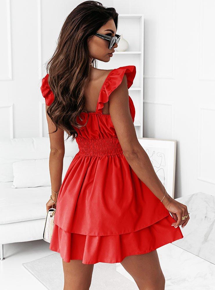 Malinowa sukienka hiszpanka z...