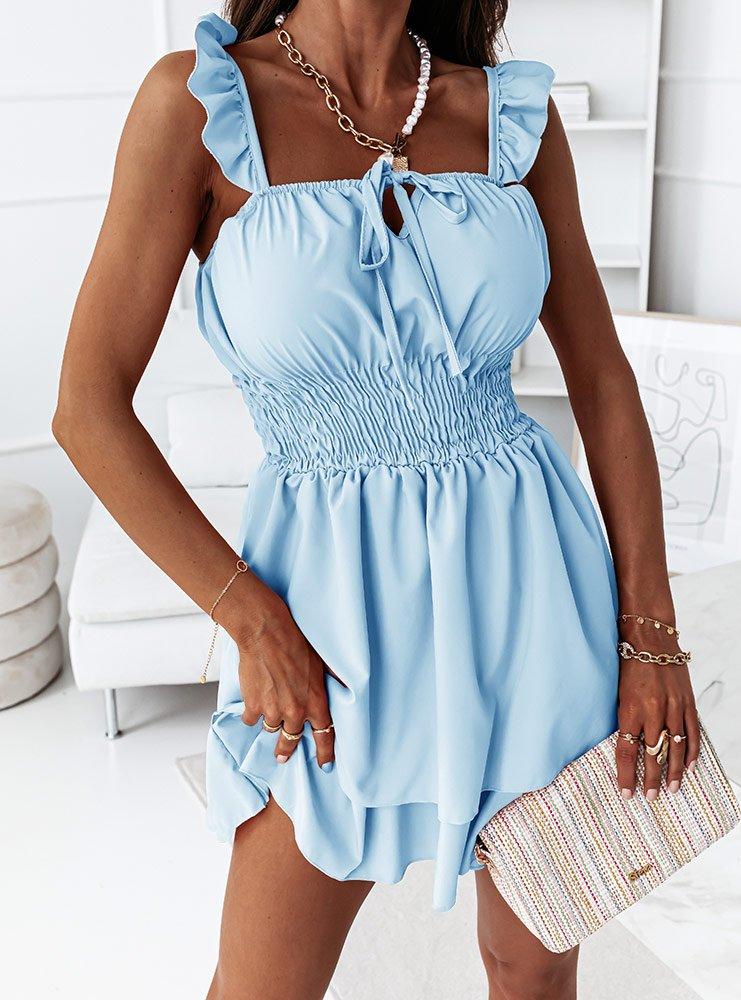 Błękitna sukienka hiszpanka z...