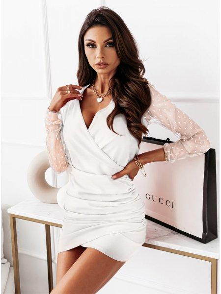 Biała sukienka z tiulowymi...
