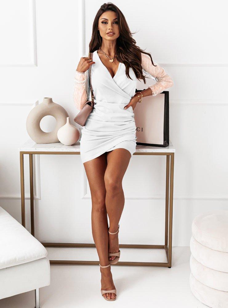Biała sukienka z tiulowymi rękawami...