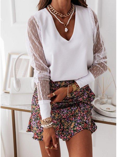 Biała bluzka z tiulowymi...