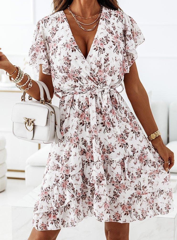 Biała sukienka w kwiaty Domenikaa