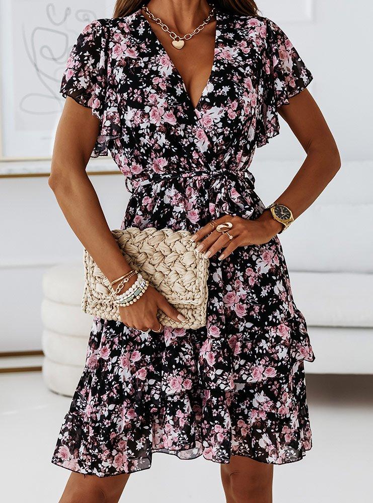 Czarna sukienka w kwiaty Domenikaa