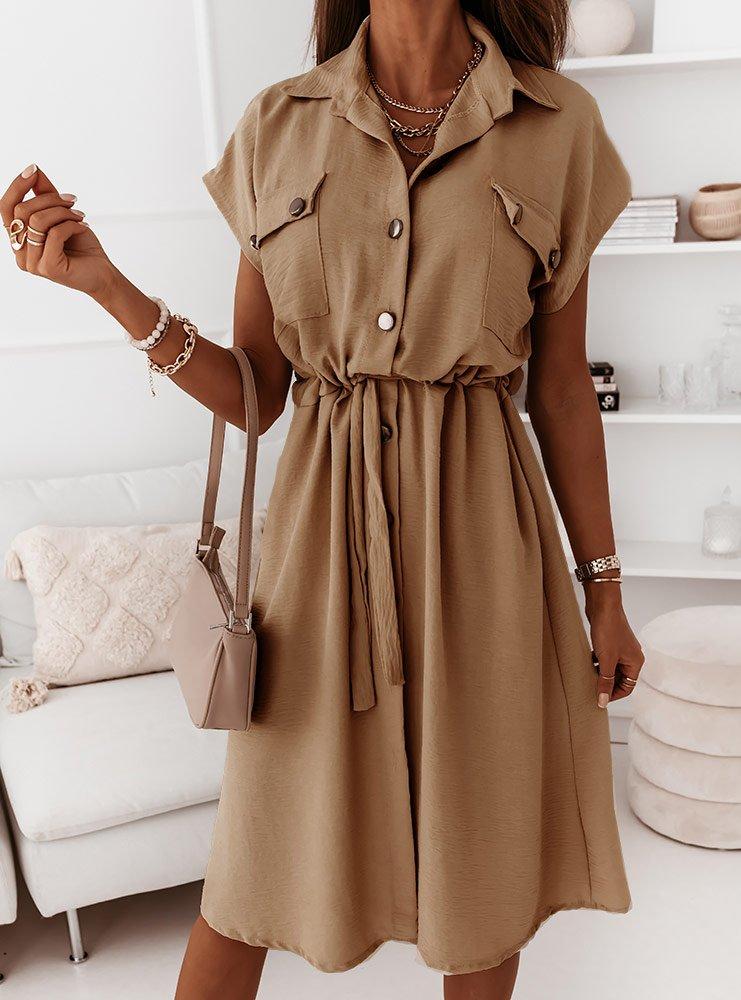 Karmelowa sukienka z guzikami Kassie