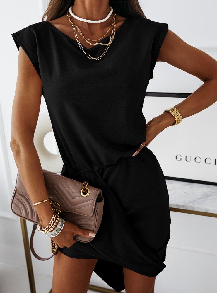 Czarna asymetryczna sukienka Kanzas