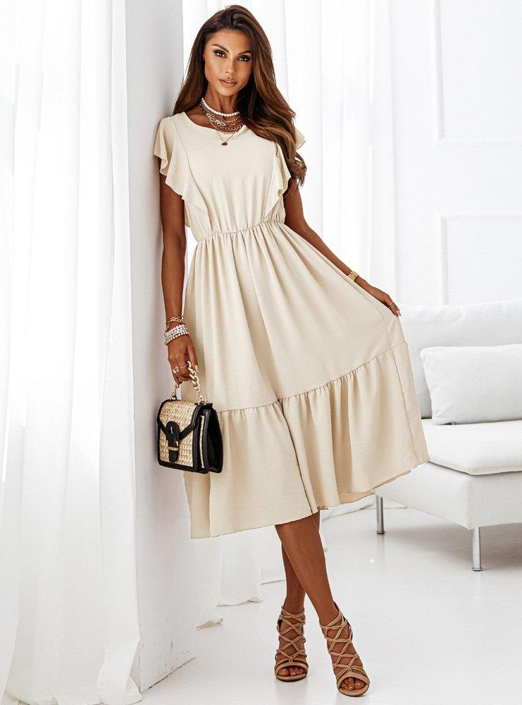 Sukienka z falbanką na dole Krisi - ecru