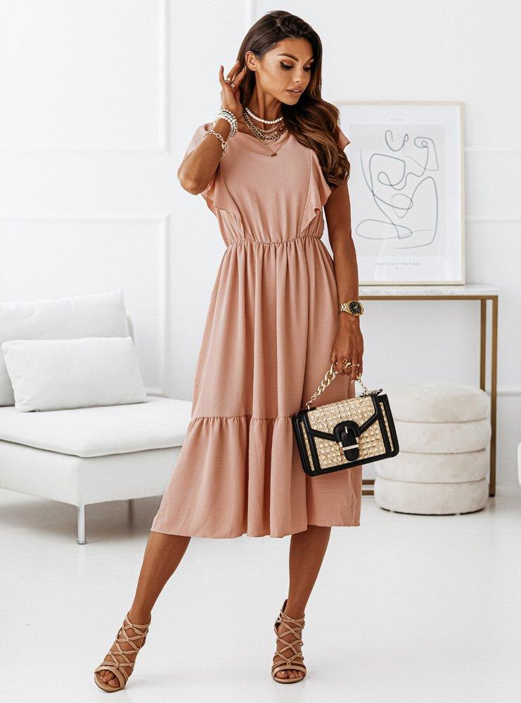 Brzoskwiniowa sukienka z falbanką na...