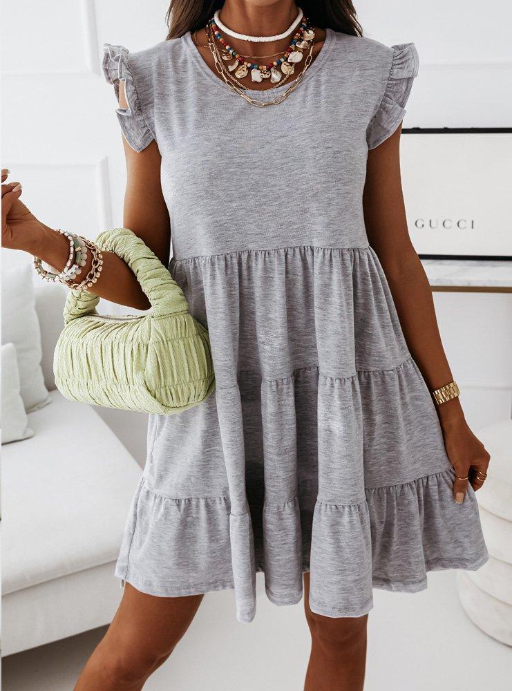 Trapezowa sukienka z falbankami...