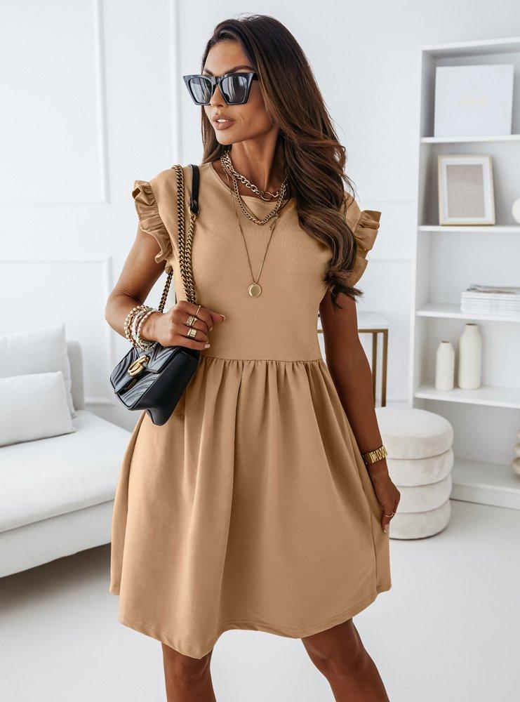 Beżowa sukienka z krótkim rękawkiem...