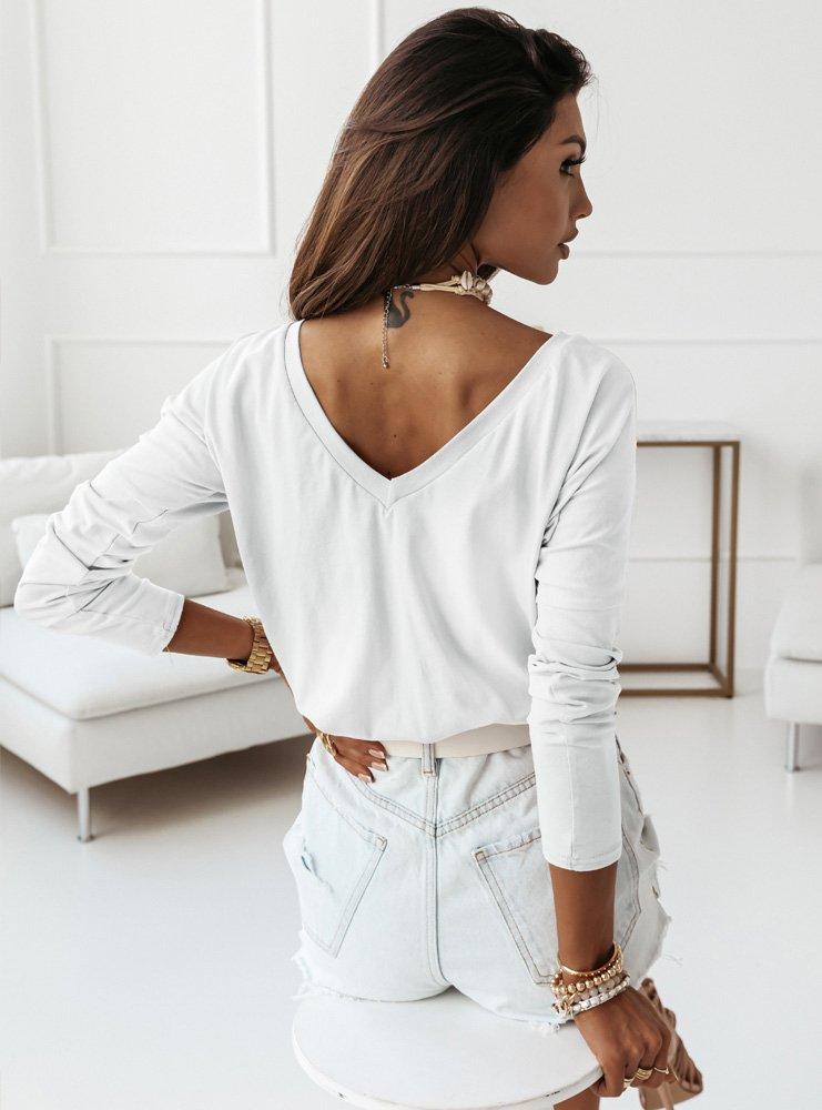 Biała klasyczna bluzka z dekoltem 2w1...