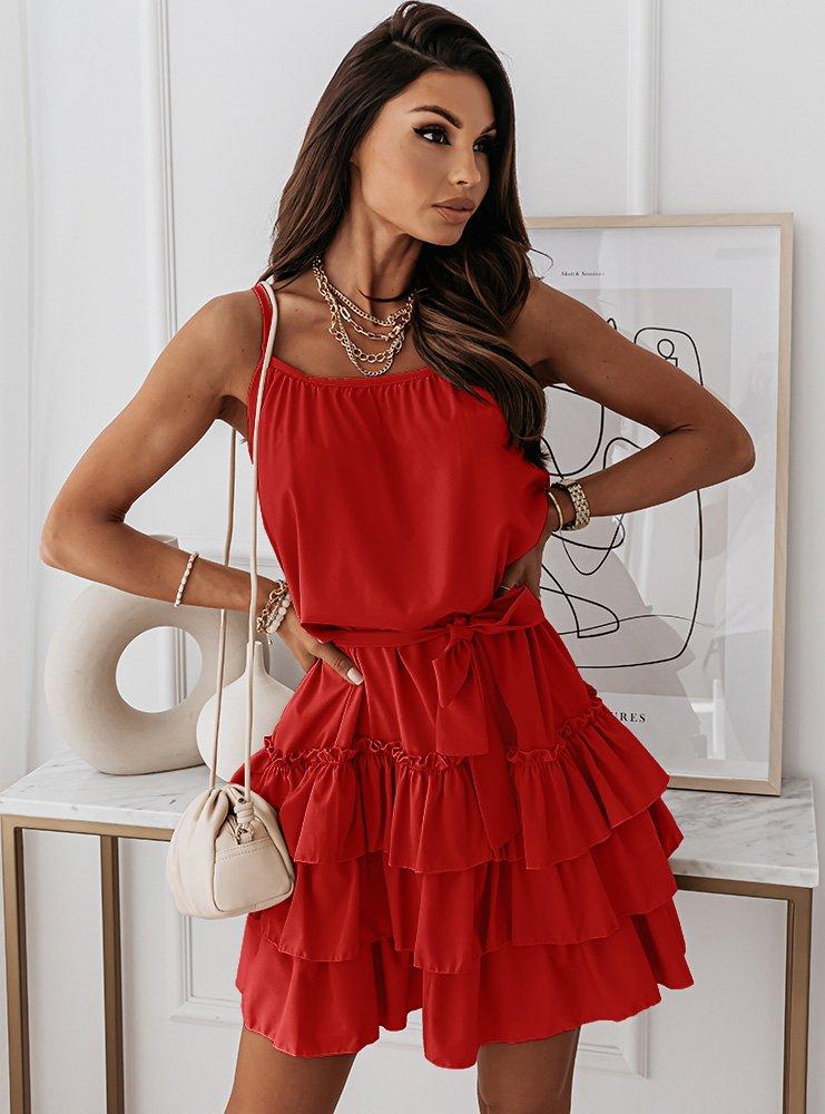 Malinowa sukienka na ramiączkach z falbankami Chanelll
